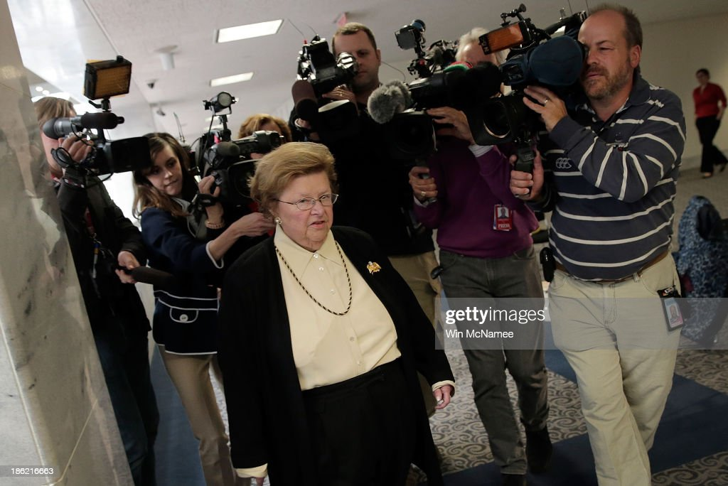 U.S. Sen. <a gi-track='captionPersonalityLinkClicked' href=/galleries/search?phrase=Barbara+Mikulski&family=editorial&specificpeople=226768 ng-click='$event.stopPropagation()'>Barbara Mikulski</a> (D-MD) is trailed by reporters while arriving for a markup of the Senate Select Committee on Intelligence October 29, 2013 in Washington, DC. The committee is also researching allegations of surveillance related to allied heads of state by the National Security Administration.