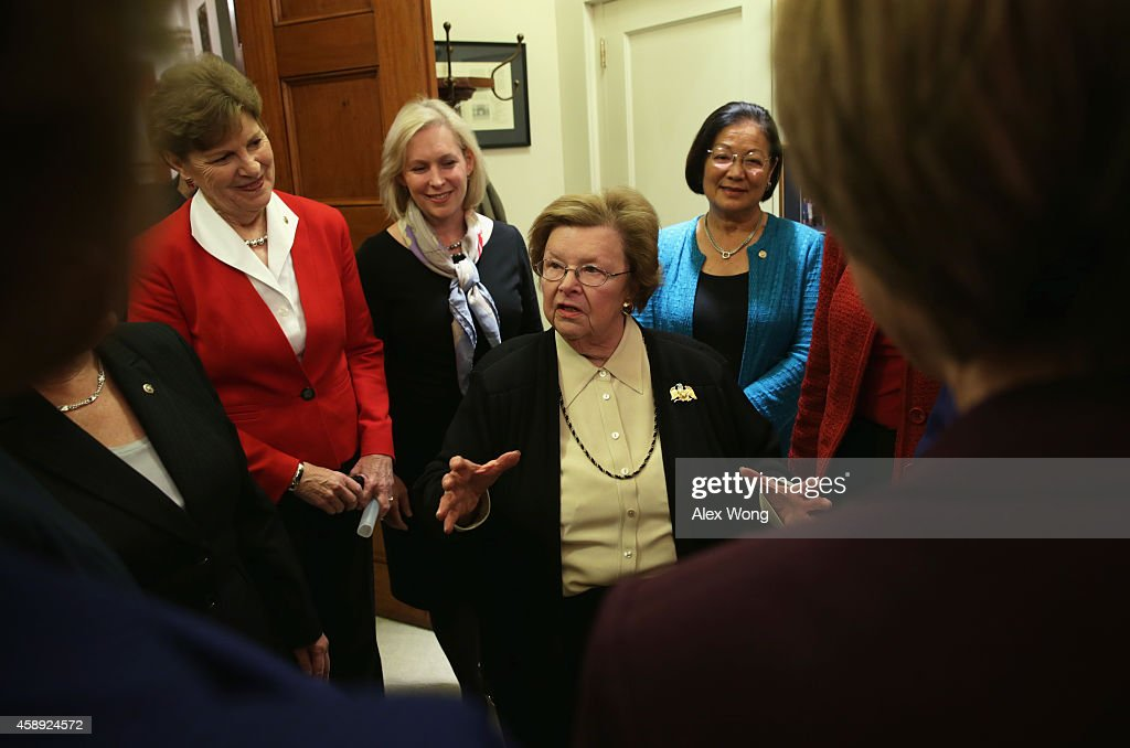 U.S. Sen. <a gi-track='captionPersonalityLinkClicked' href=/galleries/search?phrase=Barbara+Mikulski&family=editorial&specificpeople=226768 ng-click='$event.stopPropagation()'>Barbara Mikulski</a> (D-MD) (C) speaks as ( L-R) Sen. <a gi-track='captionPersonalityLinkClicked' href=/galleries/search?phrase=Jeanne+Shaheen&family=editorial&specificpeople=5591285 ng-click='$event.stopPropagation()'>Jeanne Shaheen</a> (D-NH), Sen. <a gi-track='captionPersonalityLinkClicked' href=/galleries/search?phrase=Kirsten+Gillibrand&family=editorial&specificpeople=4099377 ng-click='$event.stopPropagation()'>Kirsten Gillibrand</a> (D-NY), and Sen. <a gi-track='captionPersonalityLinkClicked' href=/galleries/search?phrase=Mazie+Hirono&family=editorial&specificpeople=3461717 ng-click='$event.stopPropagation()'>Mazie Hirono</a> (D-HI) look on during the Senate Women Power Workshop November 13, 2014 on Capitol Hill in Washington, DC. The traditional and bipartisan workshop was co-hosted by Sen. Mikulski and Sen. Susan Collins (R-ME).