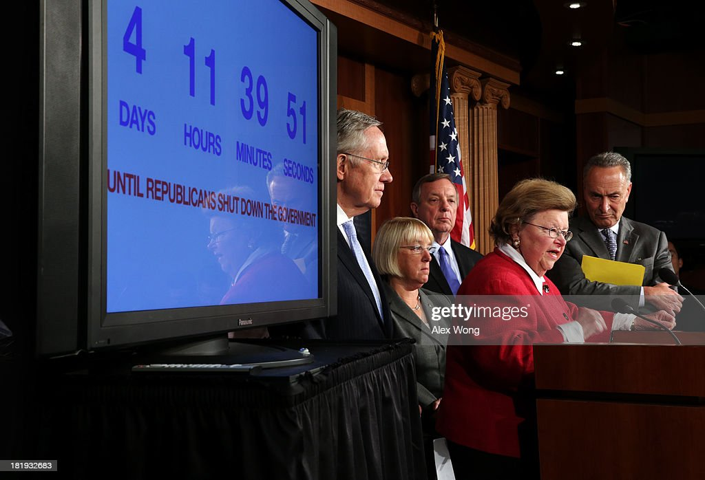 U.S. Sen. <a gi-track='captionPersonalityLinkClicked' href=/galleries/search?phrase=Barbara+Mikulski&family=editorial&specificpeople=226768 ng-click='$event.stopPropagation()'>Barbara Mikulski</a> (D-MD) (4th L) speaks as Senate Majority Leader Sen. <a gi-track='captionPersonalityLinkClicked' href=/galleries/search?phrase=Harry+Reid+-+Politician&family=editorial&specificpeople=203136 ng-click='$event.stopPropagation()'>Harry Reid</a> (D-NV), Sen. <a gi-track='captionPersonalityLinkClicked' href=/galleries/search?phrase=Patty+Murray&family=editorial&specificpeople=532963 ng-click='$event.stopPropagation()'>Patty Murray</a> (D-WA), Senate Majority Whip Sen. Richard Durbin (D-IL) and Sen. <a gi-track='captionPersonalityLinkClicked' href=/galleries/search?phrase=Charles+Schumer&family=editorial&specificpeople=171249 ng-click='$event.stopPropagation()'>Charles Schumer</a> (D-NY) listen during a news conference September 26, 2013 on Capitol Hill in Washington, DC. The Democratic senators held a news conference to call on the House Republicans not to shutdown the government.