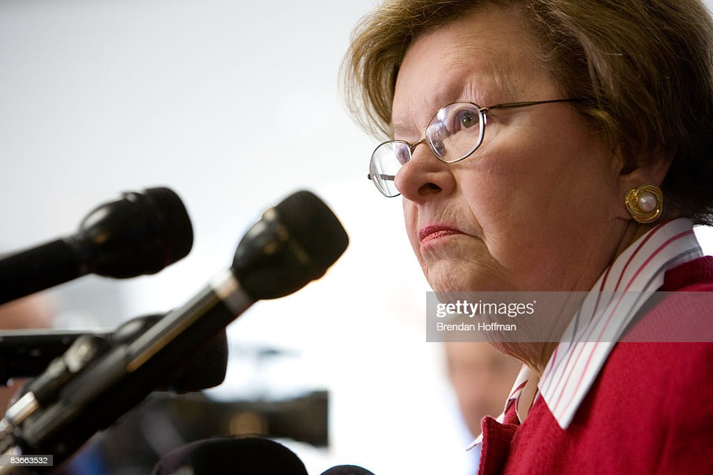 Sen. <a gi-track='captionPersonalityLinkClicked' href=/galleries/search?phrase=Barbara+Mikulski&family=editorial&specificpeople=226768 ng-click='$event.stopPropagation()'>Barbara Mikulski</a> (D-MD) speaks at a press conference at a Chevrolet dealership on November 12, 2008 in Bethesda, Maryland. Sen. Mikulski is proposing tax incentives to stimulate new car sales, in an effort to help the auto industry.