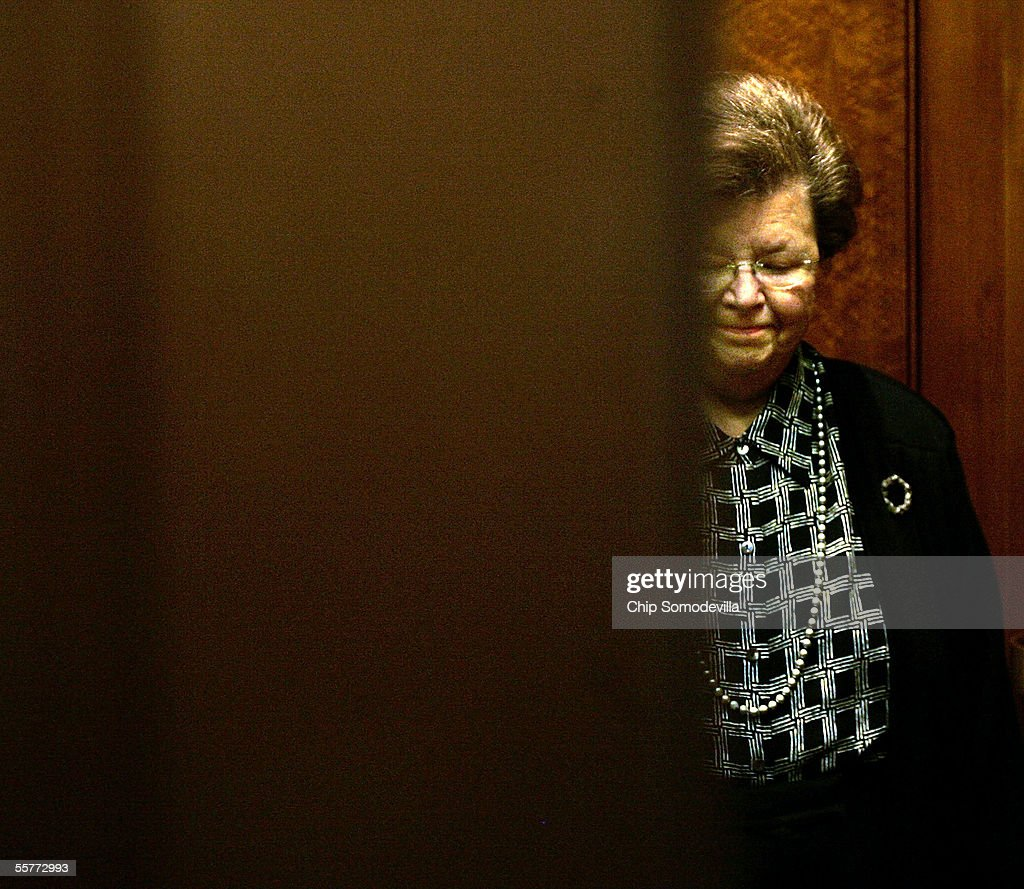U.S Sen. <a gi-track='captionPersonalityLinkClicked' href=/galleries/search?phrase=Barbara+Mikulski&family=editorial&specificpeople=226768 ng-click='$event.stopPropagation()'>Barbara Mikulski</a> (D-MD) steps into an elevator after she announced that she would vote against Judge John Roberts for chief justice of the Supreme Court Sept. 26, 2005 during the opening day of debate in the Senate on Capitol Hill in Washington, DC. The Senate Judiciary Committee voted 13-5 to recommend Roberts' confirmation as chief justice.