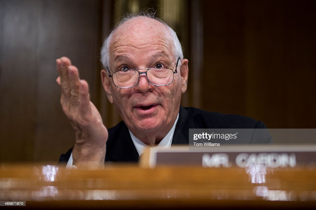 Sen. <a gi-track='captionPersonalityLinkClicked' href=/galleries/search?phrase=Ben+Cardin&family=editorial&specificpeople=2302501 ng-click='$event.stopPropagation()'>Ben Cardin</a>, D-Md., asks a question during a Senate Foreign Relations Committee hearing in Dirksen Building titled 'The President's Request for Authorization to Use Force Against