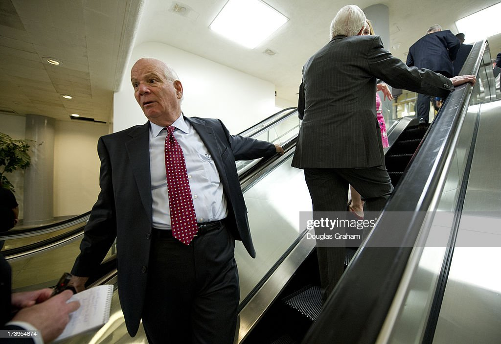 Sen Ben Cardin, D-MD., makes his way to the Senate policy luncheons through the Senate subway in the U.S. Capitol on July 18, 2013.