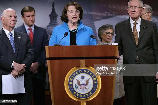Sen Ben Cardin Sen Chris Murphy Sen Dianne Feinstein Sen Barbara Boxer and Senate Minority Leader Harry Reid hold a news conference about Democratic...