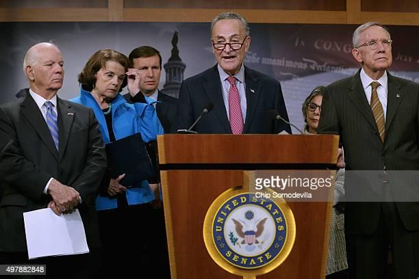 Sen Ben Cardin Sen Dianne Feinstein Sen Chris Murphy Sen Charles Schumer and Senate Minority Leader Harry Reid hold a news conference about...