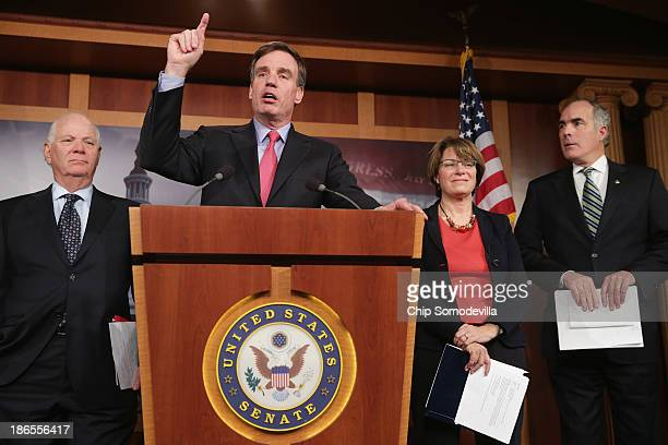 Sen Ben Cardin Sen Mark Warner Sen Amy Klobuchar and Sen Robert Casey hold a news conference to outline the economic damages caused by the federal...