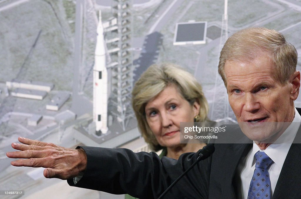 U.S. Sen. Ben Nelson (D-FL) (R) speak during a news conference to introduce the design of the new Space Launch System with U.S. Sen. <a gi-track='captionPersonalityLinkClicked' href=/galleries/search?phrase=Kay+Bailey+Hutchison&family=editorial&specificpeople=218057 ng-click='$event.stopPropagation()'>Kay Bailey Hutchison</a> (R-TX) on Capitol Hill September 14, 2011 in Washington, DC. In combination with a crew capsule already under development, the new heavy-lift rocket will use a liquid hydrogen and liquid oxygen fuel system and will be capapble of lifting 70-100 metric tons before evolving to a lift 130 metric tons. The estimated five-year price tag for the giant rocket is $10 billion, $6 billion for the capsule and $2 billion for the launch site at Kennedy Space Center in Florida, officials said.