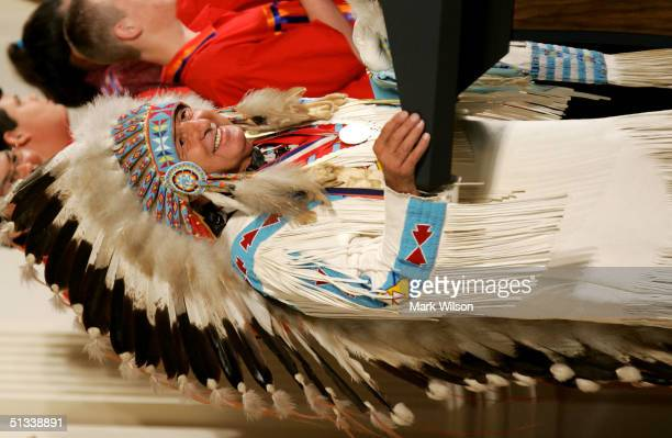 Sen Ben Nighthorse Campbell speaks during a ceremony in the East Room at the White House September 23 2004 in Washington DC The ceremony marked the...