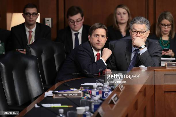 Sen Ben Sasse and Sen Al Franken look on as Judge Neil Gorsuch testifies during the second day of his Supreme Court confirmation hearing before the...