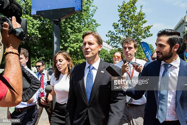 Sen Ben Sasse speaks to reporters as he leaves a meeting with Republican presidential candidate Donald Trump at the Republican National Senatorial...