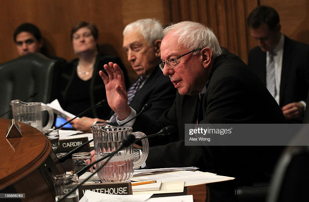 U.S. Sen. Bernard Sanders (I-VT) (R) asks questions as Sen. <a gi-track='captionPersonalityLinkClicked' href=/galleries/search?phrase=Frank+Lautenberg&family=editorial&specificpeople=240397 ng-click='$event.stopPropagation()'>Frank Lautenberg</a> (D-NJ) (2nd R) listens during a joint hearing on Nuclear Regulatory Commission before the Senate Environment and Public Works Committee and Clean Air and Nuclear Safety Subcommittee December 15, 2011 on Capitol Hill in Washington, DC. In October the four commissioners of the commission sent a letter to White House Chief of Staff William Daley expressing 'grave concerns' that commission chairman Gregory Jaczko's deficiencies as a leader could compromise nuclear safety. The hearing was to have a 'Review of the Nuclear Regulatory Commission's Near-Term Task Force Recommendations for Enhancing Reactor Safety in the 21st Century.'