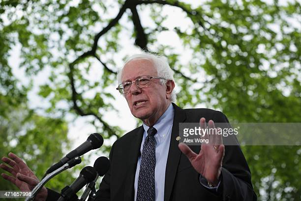 S Sen Bernard Sanders speaks on his agenda for America during a news conference on Capitol Hill April 30 2015 in Washington DC Sen Sanders sent out...