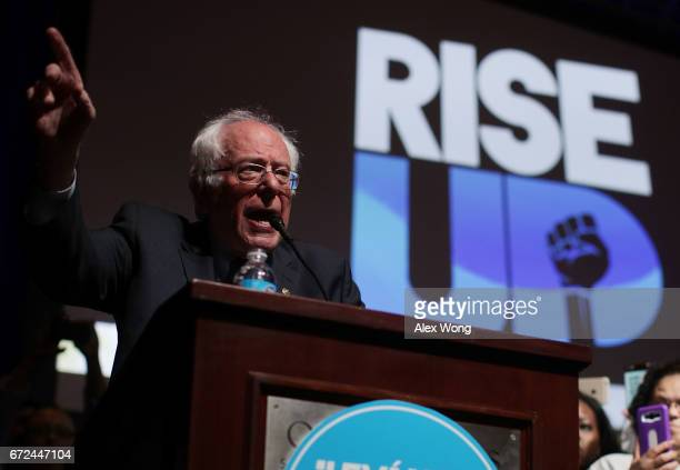 S Sen Bernie Sanders addresses the 'Rise Up From Protest to Power' convention April 24 2017 in Washington DC Activists gathered at the founding...