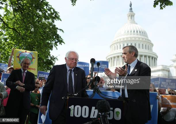 Sen Bernie Sanders and Sen Jeff Merkley and Sen Edward Markey participate in a news conference on climate change on Capitol Hill April 27 2017 in...
