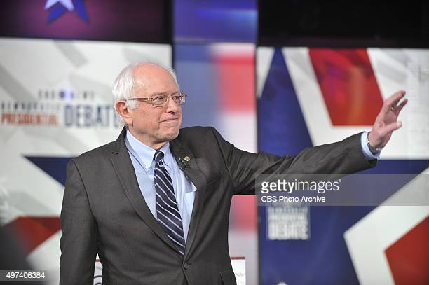 Sen Bernie Sanders at the CBS News Democratic Presidential Debate at Drake University Des Moines Iowa on Saturday November 14 2015 on the CBS...