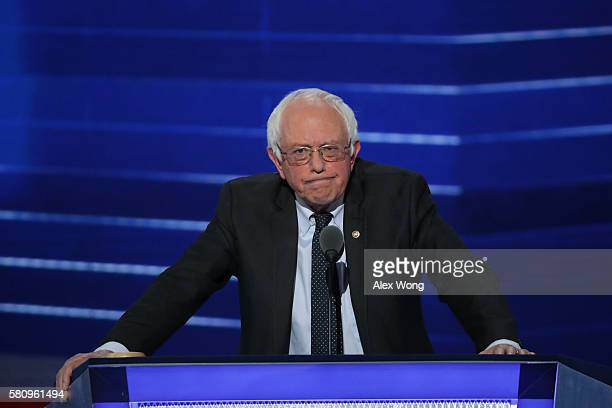 Sen Bernie Sanders delivers remarks on the first day of the Democratic National Convention at the Wells Fargo Center July 25 2016 in Philadelphia...