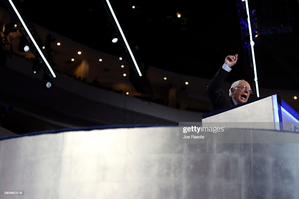 Sen. Bernie Sanders (I-VT) delivers remarks on the first day of the Democratic National Convention at the Wells Fargo Center, July 25, 2016 in Philadelphia, Pennsylvania. An estimated 50,000 people are expected in Philadelphia, including hundreds of protesters and members of the media. The four-day Democratic National Convention kicked off July 25.