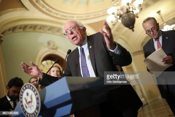 Sen Bernie Sanders during a news conference following the weekly Democratic policy luncheon at the US Capitol on October 17 2017 in Washington DC...