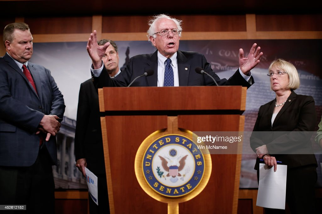 Sen. <a gi-track='captionPersonalityLinkClicked' href=/galleries/search?phrase=Bernie+Sanders&family=editorial&specificpeople=2908340 ng-click='$event.stopPropagation()'>Bernie Sanders</a> (I-VT) during a press conference at the U.S. Capitol July 24, 2014 in Washington, DC. Sanders, chairman of the committee, has indicated disagreement with the House legislative proposal to address problems with the Department of Veterans Affairs, and also with the House Veterans Affairs Committee chairman, Rep. Jeff Miller (R-FL). Also pictured (L-R) are Sen. <a gi-track='captionPersonalityLinkClicked' href=/galleries/search?phrase=Jon+Tester&family=editorial&specificpeople=3956780 ng-click='$event.stopPropagation()'>Jon Tester</a> (D-MT), Sen. <a gi-track='captionPersonalityLinkClicked' href=/galleries/search?phrase=Sherrod+Brown&family=editorial&specificpeople=3986311 ng-click='$event.stopPropagation()'>Sherrod Brown</a> (D-OH) and Sen. <a gi-track='captionPersonalityLinkClicked' href=/galleries/search?phrase=Patty+Murray&family=editorial&specificpeople=532963 ng-click='$event.stopPropagation()'>Patty Murray</a> (D-WA).