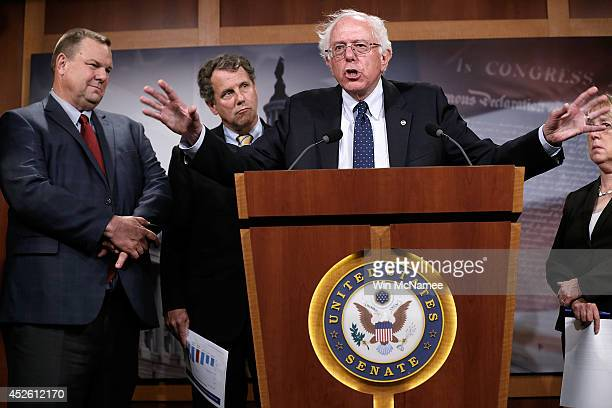 Sen Bernie Sanders during a press conference at the US Capitol July 24 2014 in Washington DC Sanders chairman of the committee has indicated...