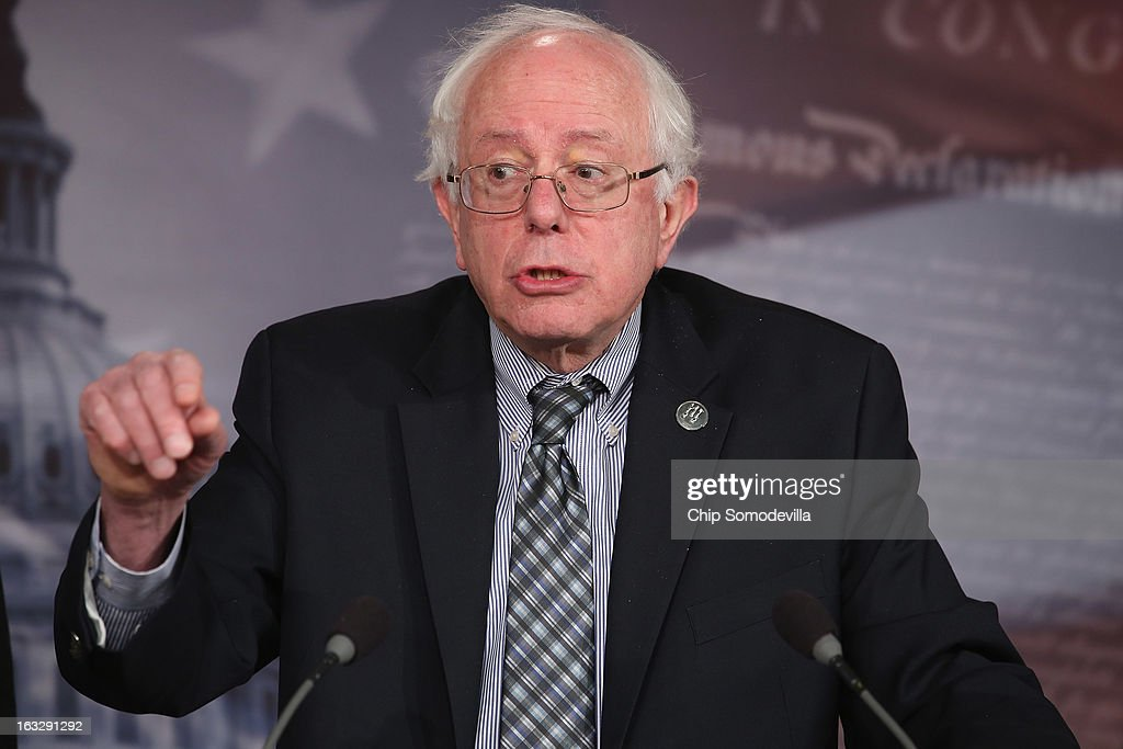 U.S. Sen. <a gi-track='captionPersonalityLinkClicked' href=/galleries/search?phrase=Bernie+Sanders&family=editorial&specificpeople=2908340 ng-click='$event.stopPropagation()'>Bernie Sanders</a> (I-VT) holds a news conference to announce their proposed legislation to strengthen Social Security March 7, 2013 in Washington, DC. Sanders and U.S. Rep. Peter DeFazio (D-OR) are sponsoring the 'Keepping Our Social Security Promises Act,' which they say will increase payroll taxes on the wealthest and bolster Social Security without raising the retirement age or lowering benefits.