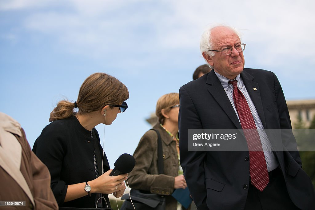 Sen. <a gi-track='captionPersonalityLinkClicked' href=/galleries/search?phrase=Bernie+Sanders&family=editorial&specificpeople=2908340 ng-click='$event.stopPropagation()'>Bernie Sanders</a> (I-VT) is seen outside the Supreme Court in Washington, on October 8, 2013 in Washington, DC. On Tuesday, the Supreme Court will hear oral arguments in McCutcheon v. Federal Election Committee, a first amendment case that will determine how much money an individual can contribute directly to political campaigns.