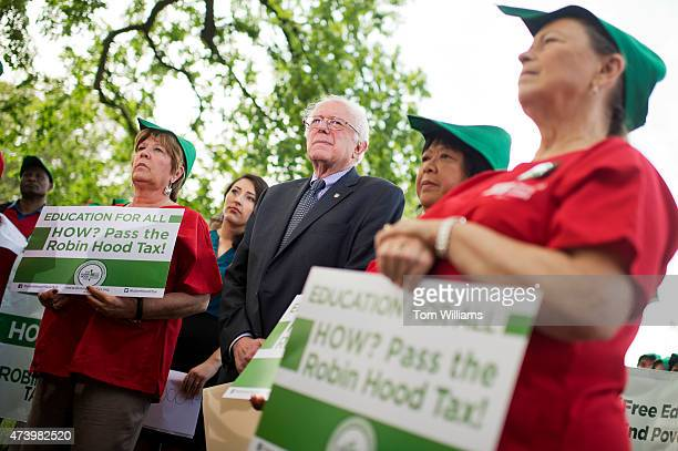 Sen Bernie Sanders IVt attends a news conference with members of the National Nurses Association at the Senate swamp on legislation 'to eliminate...