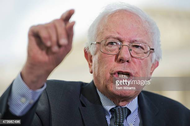 Sen Bernie Sanders IVt conducts a news conference at the Senate swamp on legislation 'to eliminate undergraduate tuition at public colleges and...