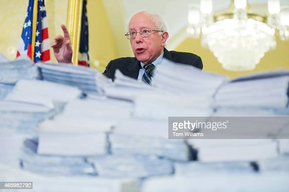 Sen Bernie Sanders IVt speaks at an event in the Capitol in front of letters and petitions with over 2 million signatures to be delivered to Hill...