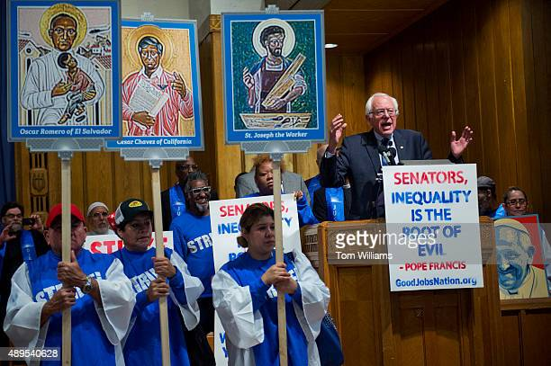 Sen Bernie Sanders IVt speaks during a rally with striking federal workers at the Lutheran Church of the Reformation on East Capitol St NE September...
