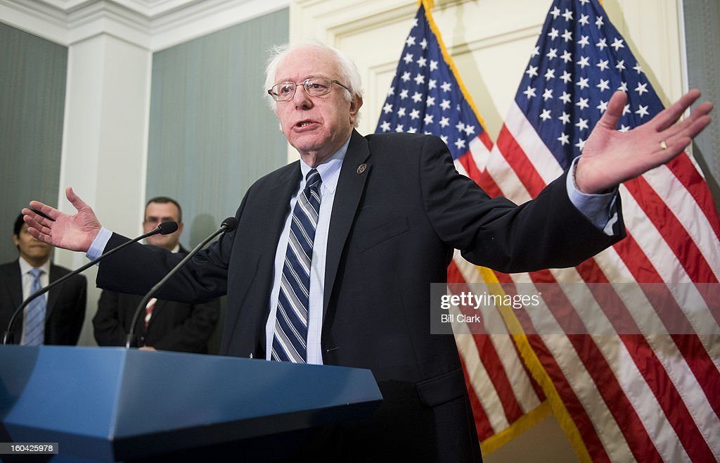 Sen. Bernie Sanders, I-Vt., speaks during the news conference to oppose the chained Consumer Price Index to cut benefits for Social Security and disabled veterans on Thursday, Jan. 31, 2013.
