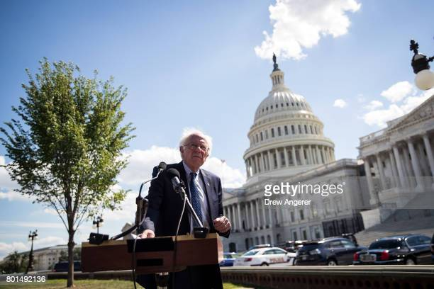 S Sen Bernie Sanders speaks about health care on Capitol Hill June 26 2017 in Washington DC Sanders and Rep James Clyburn are introducing the...
