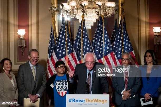 Sen Bernie Sanders speaks during a press conference to discuss legislation for a 15 dollar minimum wage on Capitol Hill May 25 2017 in Washington DC...