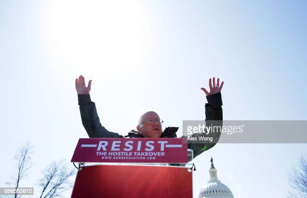 S Sen Bernie Sanders speaks during a rally in front of the Capitol March 22 2017 in Washington DC Sanders urged the Senate to reject President Donald...