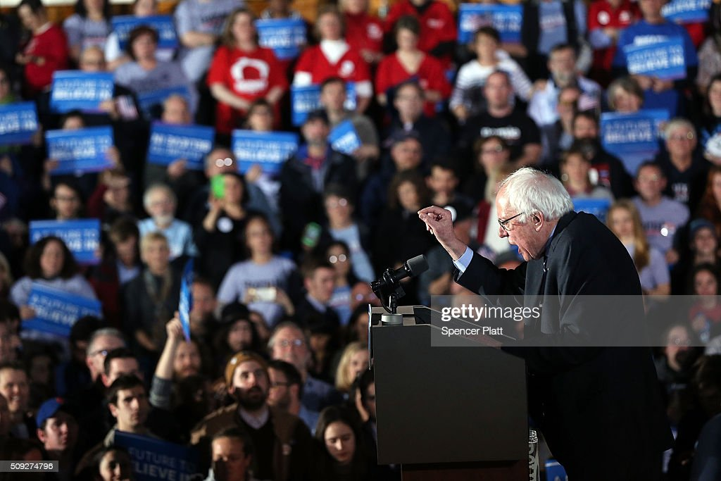 Sen. <a gi-track='captionPersonalityLinkClicked' href=/galleries/search?phrase=Bernie+Sanders&family=editorial&specificpeople=2908340 ng-click='$event.stopPropagation()'>Bernie Sanders</a> (D-VT) speaks onstage after the New Hampshire primary February 9, 2016 in Concord, New Hampshire. Sanders was projected Democratic winner shortly after the polls closed.