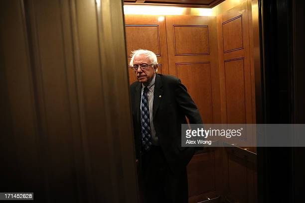 S Sen Bernie Sanders takes an elevator as he leaves after a vote on the Senate floor June 24 2013 on Capitol Hill in Washington DC The Senate had...