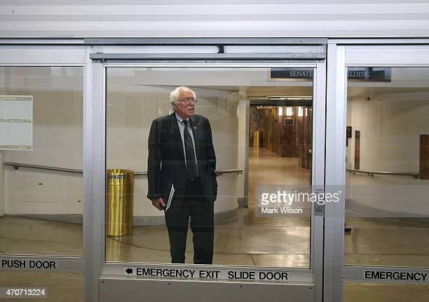 S Sen Bernie Sanders waits to get on the Senate subway to attend a series of votes at Capitol building April 22 2015 in Washington DC Earlier today...