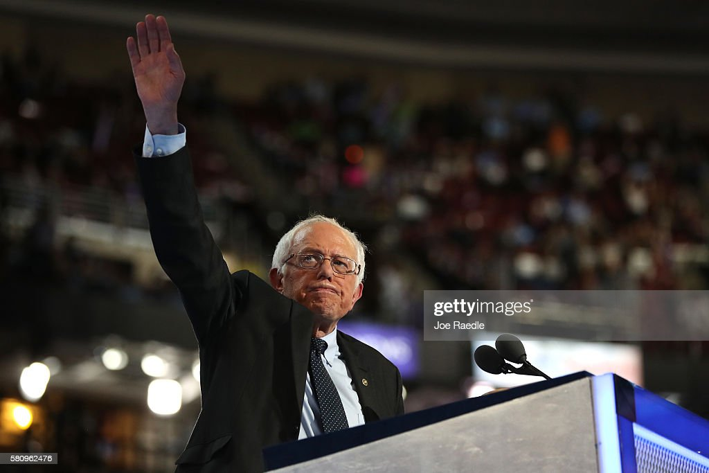 Sen. Bernie Sanders (I-VT) waves to the crowd after delivering remarks on the first day of the Democratic National Convention at the Wells Fargo Center, July 25, 2016 in Philadelphia, Pennsylvania. An estimated 50,000 people are expected in Philadelphia, including hundreds of protesters and members of the media. The four-day Democratic National Convention kicked off July 25.