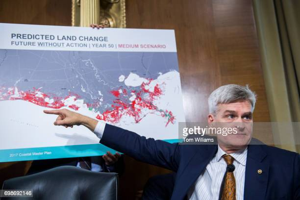 Sen Bill Cassidy RLa references a map of Louisiana's Gulf Coast during a Senate Energy and Natural Resources Committee hearing in Dirksen Building...
