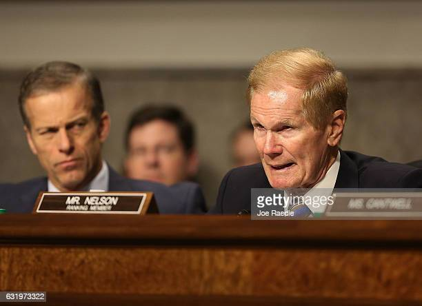 Sen Bill Nelson asks a question during the confirmation hearing of Wilbur Ross picked by Presidentelect Donald Trump to serve as his commerce...