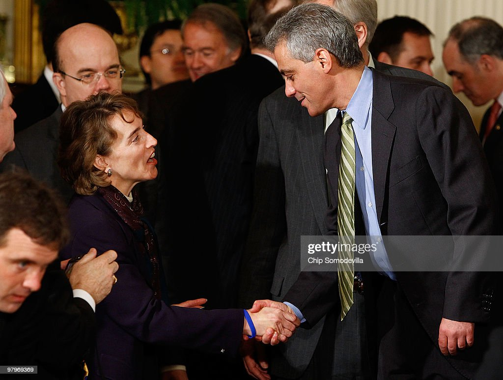 Sen. <a gi-track='captionPersonalityLinkClicked' href=/galleries/search?phrase=Blanche+Lincoln&family=editorial&specificpeople=504930 ng-click='$event.stopPropagation()'>Blanche Lincoln</a> (D-AK) (L) shakes hands with White House Chief of Staff <a gi-track='captionPersonalityLinkClicked' href=/galleries/search?phrase=Rahm+Emanuel&family=editorial&specificpeople=753774 ng-click='$event.stopPropagation()'>Rahm Emanuel</a> during the signing ceremony for the Affordable Health Care for America Act in the East Room of the White House March 23, 2010 in Washington, DC. The landmark bill was passed by the House of Representatives Sunday after a 14-month-long political battle that left the legislation without a single Republican vote.