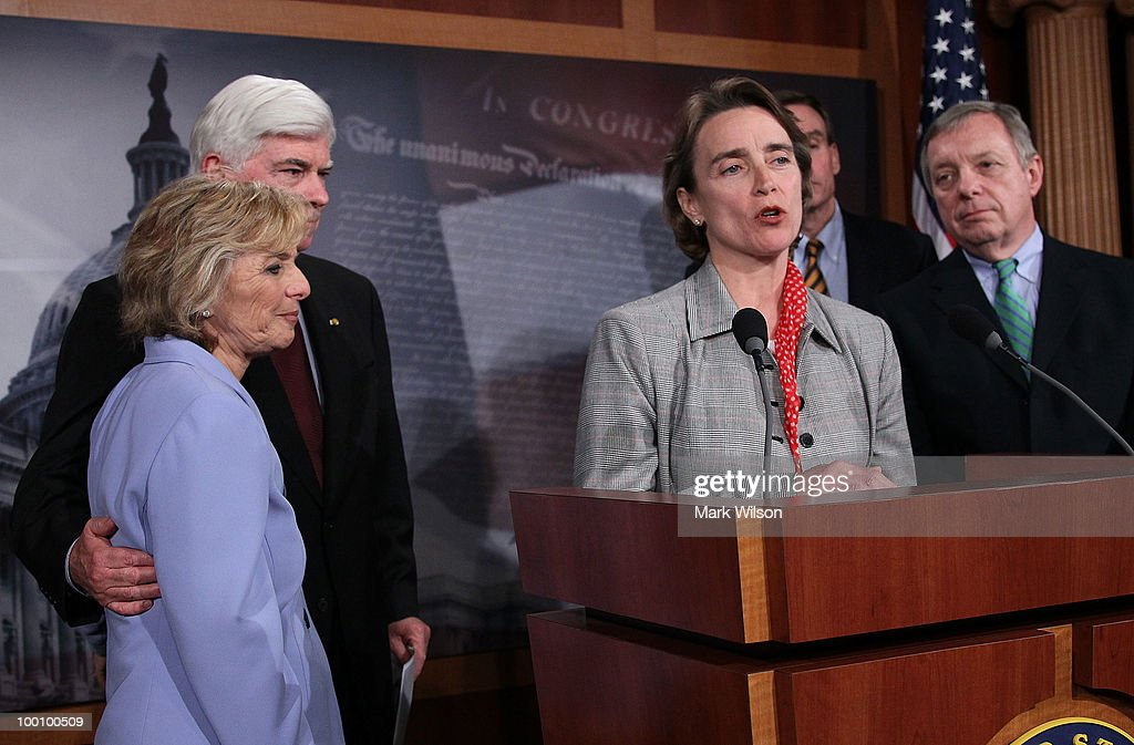 Sen. Blanche Lincoln (D-AR) (C) speaks while flanked by Sen. Christopher Dodd (D-CT) (2L), Sen. Barbara Boxer (D-CA) (L), Sen. Richard Durbin (D-IL) (R), and Sen. Mark Warner (D-VA), after the Senate voted to pass Wall Street reform, on May 20, 2010 in Washington, DC. In a 59-39 vote the Senate passed the landmark Wall Street regularly reform bill that will increase restrictions on the banking industry.