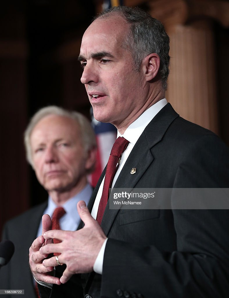 Sen. Bob Casey (D-PA) (R) and Sen. Joe Lieberman (I-CT) hold a press conference on a pending resolution regarding Hezbollah on December 11, 2012 in Washington, DC. The two senators are urging passage of a resolution urging the European Union to recognize Hezbollah as a terrorist organization.