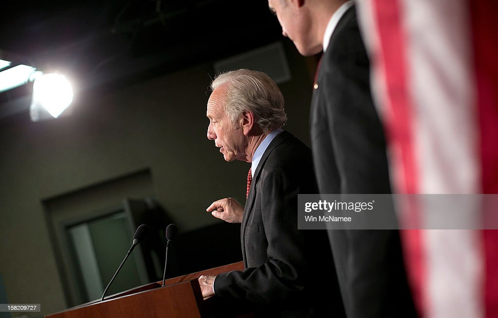 Sen. Bob Casey (D-PA) (R) and Sen. Joe Lieberman (I-CT) (L) hold a press conference on a pending resolution regarding Hezbollah on December 11, 2012 in Washington, DC. The two senators are urging passage of a resolution urging the European Union to recognize Hezbollah as a terrorist organization.