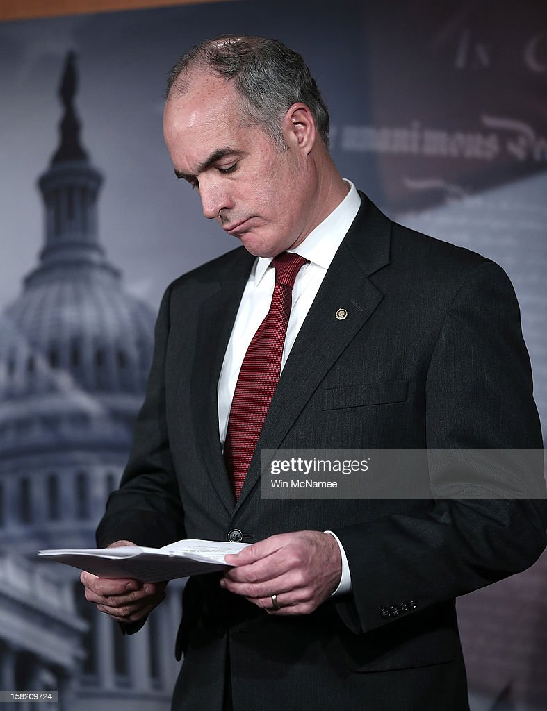 Sen. Bob Casey (D-PA) holds a press conference on a pending resolution regarding Hezbollah on December 11, 2012 in Washington, DC. Casey and Sen. Joe Lieberman (I-CT) are urging passage of a resolution urging the European Union to recognize Hezbollah as a terrorist organization.