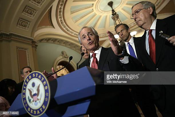 Sen Bob Corker chairman of the Senate Foreign Relations Committee answers questions at a press conference following the weekly policy luncheon of the...