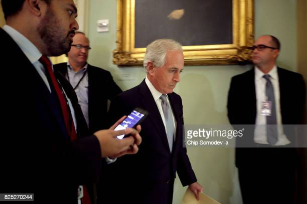 Sen Bob Corker heads into the Senate Republican policy luncheon at the US Capitol August 1 2017 in Washington DC After failing to pass legislation to...