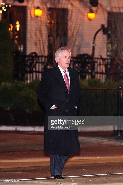 S Sen Bob Corker leaves the Jefferson Hotel after having dinner with President Barack Obama and other GOP Senators March 6 2013 in Washington DC...