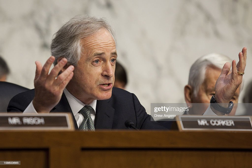 Sen. <a gi-track='captionPersonalityLinkClicked' href=/galleries/search?phrase=Bob+Corker&family=editorial&specificpeople=3986296 ng-click='$event.stopPropagation()'>Bob Corker</a> (R-TN) questions the witnesses during the Senate Foreign Relations Committee hearing on the September 11th attacks on the U.S. Consulate in Benghazi, on Capitol Hill, December 20, 2012 in Washington, DC. Secretary of State Hillary Clinton had planned to testify at the hearing, but could not attend due to an illness.