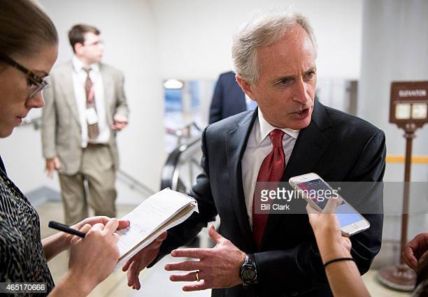 Sen Bob Corker RTenn speaks with reporters as he heads to the Senate Republicans' policy lunch in the Capitol on Tuesday March 3 2015